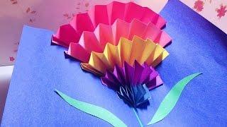 How To Make a CARNATION POP-UP CARD (origami)  立體康乃馨母親節卡片 || RuoxiMyLife