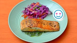 Ketogenic Salmon with Herb Dressing. Keto Diet. Easy Simple Tasty Recipes