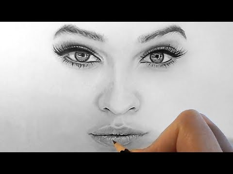 How to draw, shade realistic eyes, nose and lips with graphite pencils   Step by Step