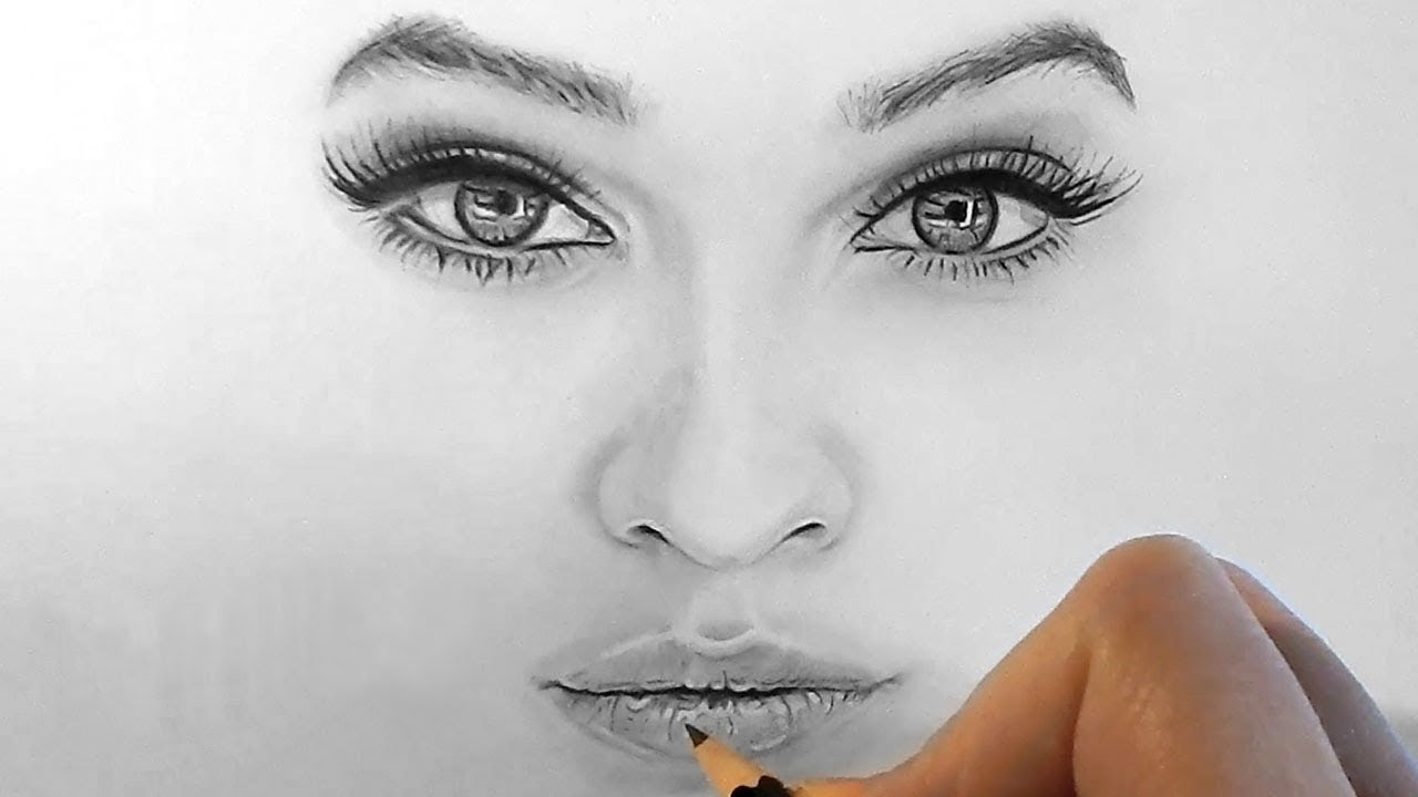 How to draw shade realistic eyes nose and lips with graphite pencils step by step