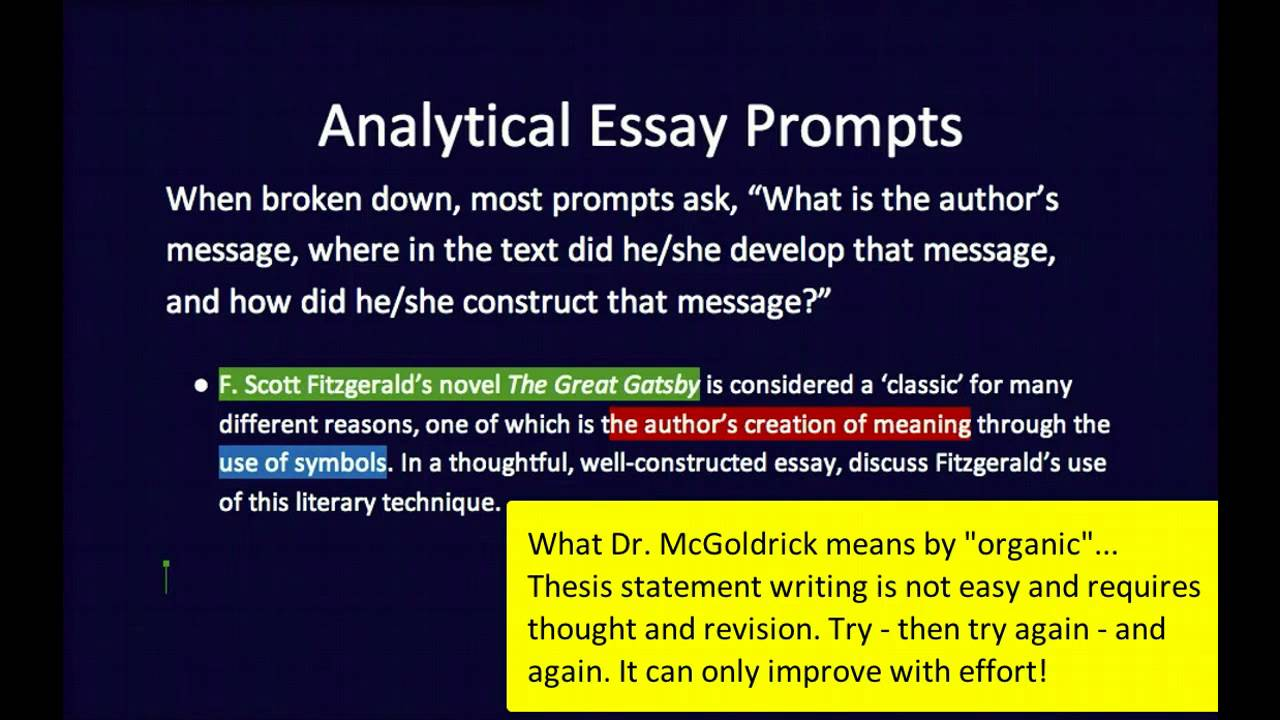 writing a thesis statement for an analytical essay How writing an analytical essay that differ from other types of writing first, this type the thesis statement and your essay's introduction regardless of length, every paper you write in my class need to have a short thesis statement (usually a.