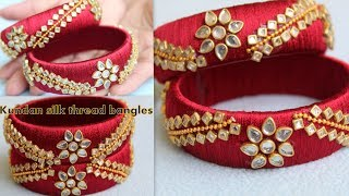 How to make Silk Thread Designer Kundan Bangles at Home using Latest Design Kundans | DIY | Trendy !