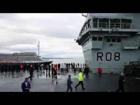 Carrier Queen Elizabeth meets Cunarder Queen Elizabeth.