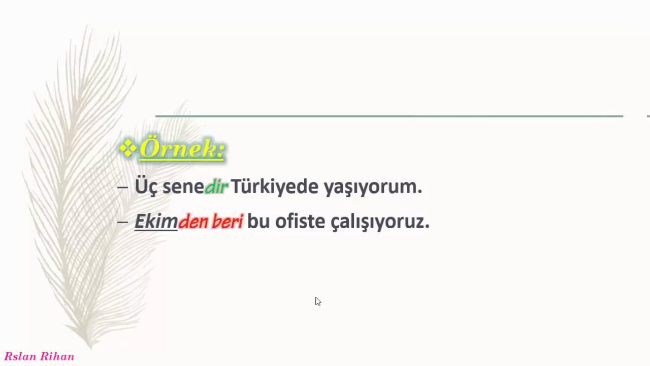 تعلم اللغة التركية (الدرس 18 من المستوى الأول A1) (منذ DAn beri / DIr)