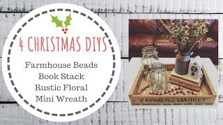 4 DIY CHRISTMAS DECOR  |  Farmhouse Beads, Books, Floral, Wreath  |  Farm Fresh Sign #2