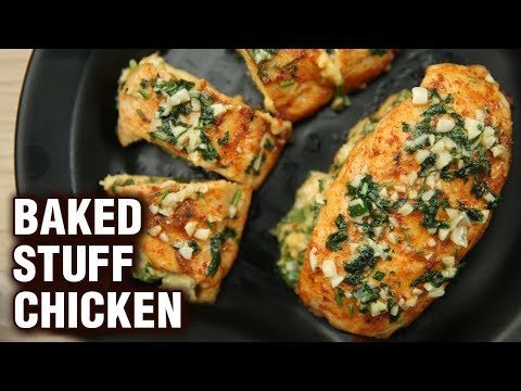 Baked Stuff Chicken Recipe | How To Make Spinach & Cheese Stuffed Chicken Breast | Neha