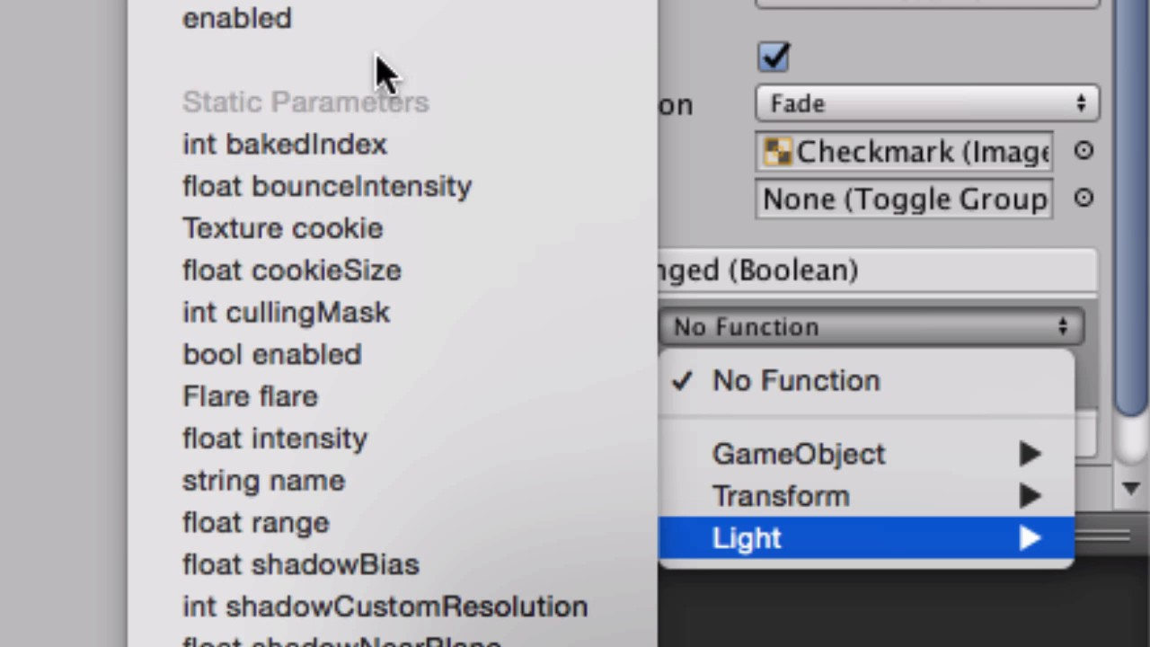 Unity 5 Use UI Toggle (Check box) to turn off and on the light