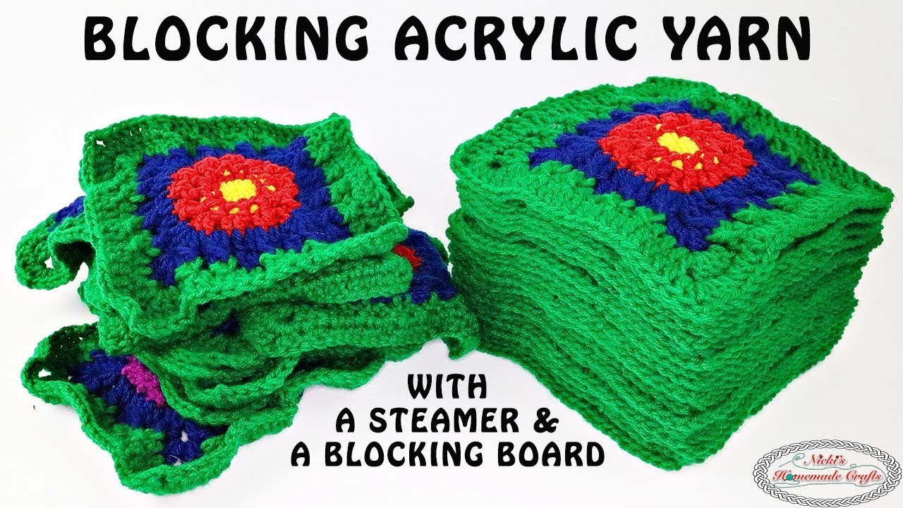 How To Block Acrylic Yarn For Granny Squares Youtube
