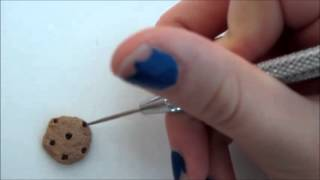 Polymer Clay Chocolate Chip Cookies Filled Candy Cane Icing Charm