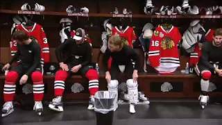 Chicago Blackhawks inside locker room