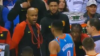 Russell Westbrook Gets Confronted & Checked By Vince Carter After Throwing Ball At Hawks Bench!