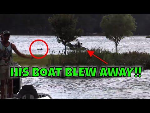 His Boat Blew AWAY!!! Lake Henry Bass Fishing BATTLE