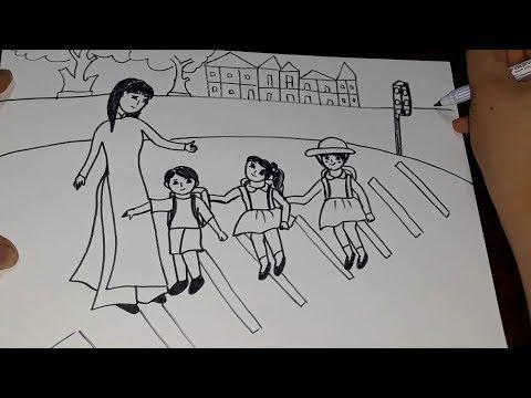 Tranh vẽ ước mơ. Vẽ tranh chủ đề giao thông. Giáo dục an toàn giao thông. Tập vẽ. //MaiThi//
