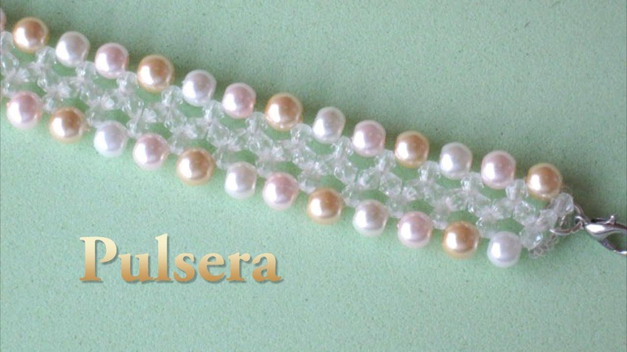 e7f5e062bce2 # DIY -Pulsera niña, fácil, perlas y tupis cristal# DIY-girl bracelet,  pearls and crystal tupis