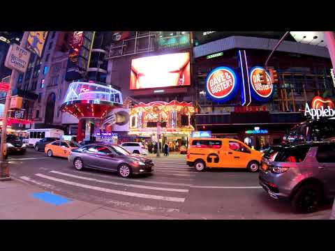 ⁴ᴷ⁶⁰ Walking NYC : Times Square & 8th Avenue at Night on February 10, 2019