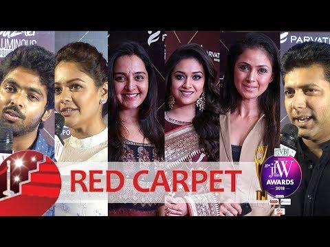 JFW Awards 2018 Red Carpet Fun Moments | Keerthy Suresh| Jayam Ravi| Pooja Kumar|