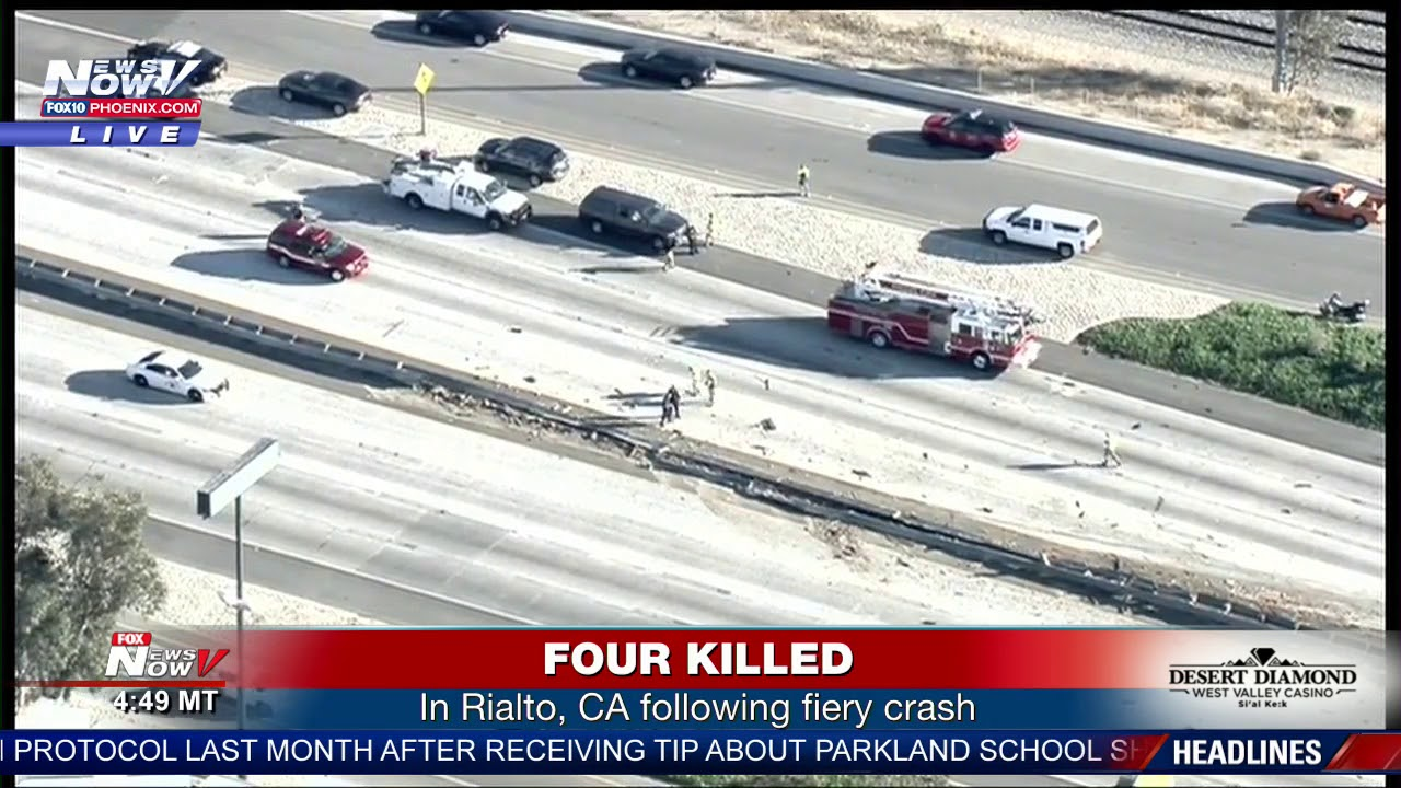 FIVE KILLED: In fiery crash on Interstate 10 in Rialto, CA (FNN ...