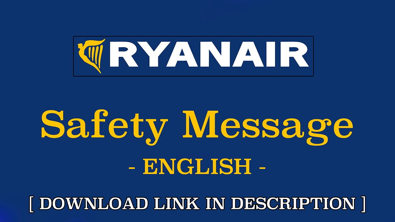 Safety Messages Ryanair English Youtube