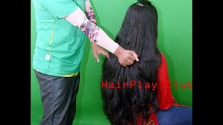 Passionate Long Hair Play with Lustrous Glossy Long Hair