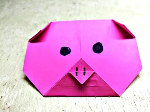 Origami Paper Pig | DIY Animal Face| Paper Animal Craft