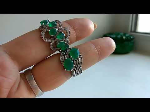 Мои серебряные украшения !! Часть 3 !!! ( Изумруды, агаты , нефрит....)