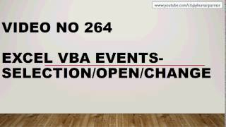Learn Excel - Video 264- VBA -WHAT ARE EVENTS - Basic Level