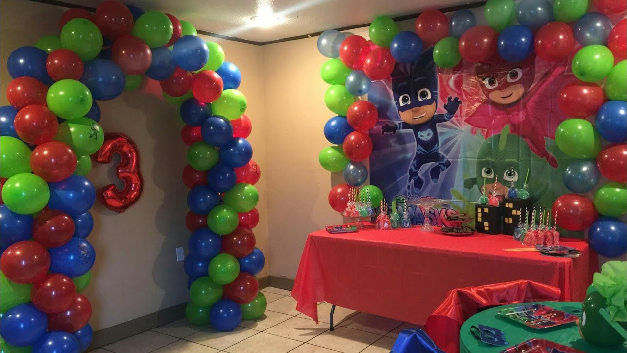 PJ MASK PARTY DECORATIONS | 3RD BIRTHDAY - YouTube