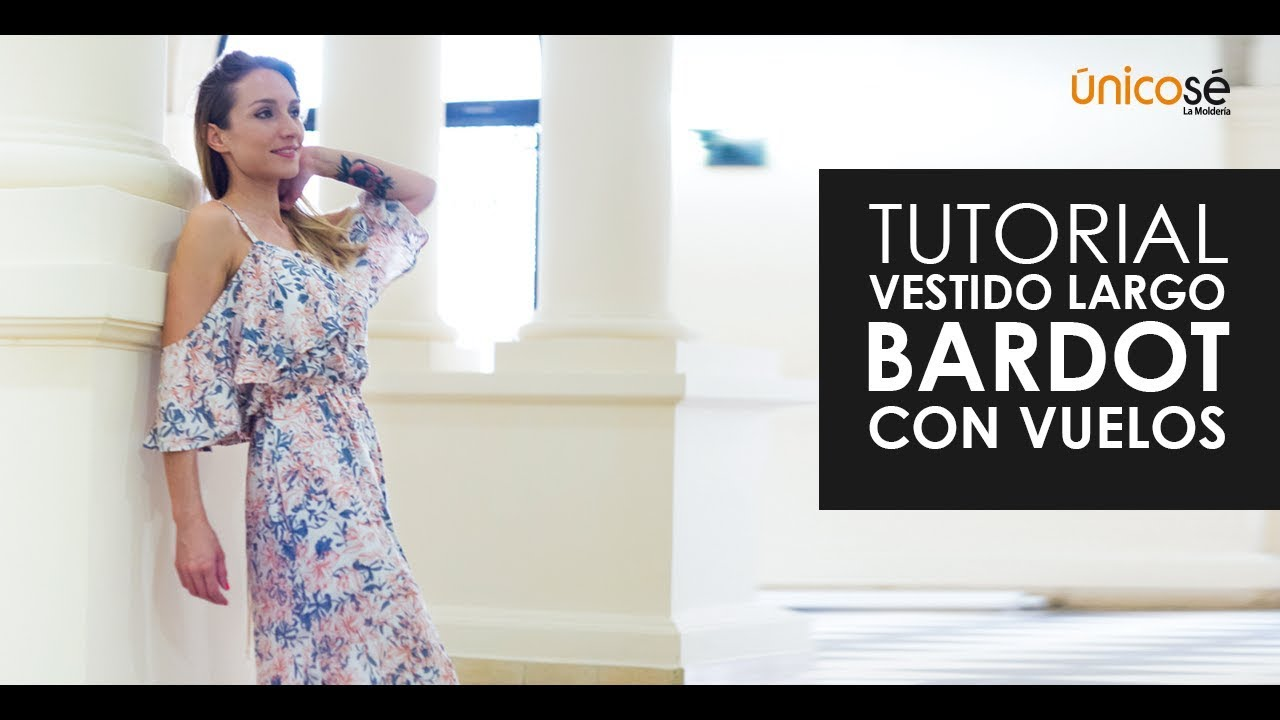DIY Tutorial costura: Vestido largo bardot con vuelos - YouTube