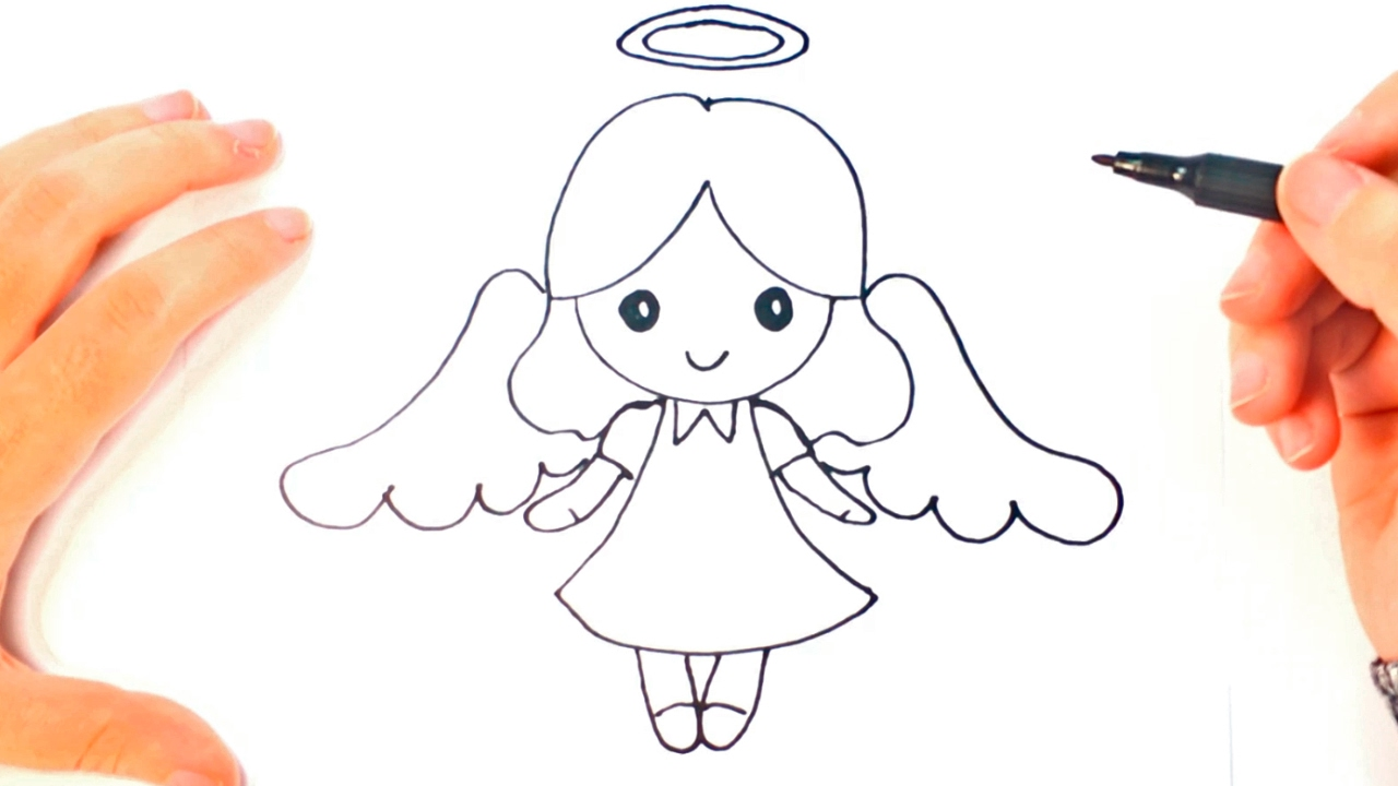 how to draw a angel for kids