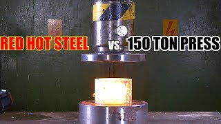 Crushing and Slicing Red Hot Steel with Hydraulic Press
