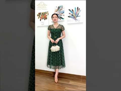 Đầm thời trang quý bà cao cấp LadyShop - Đầm lưới bồ công anh đai eo TK589 - Gọi Ngay 0977.805.355