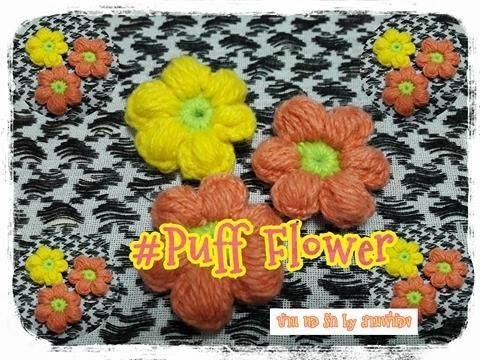 Crochet Puff flower tutorial /flower crochet/puff flower :วิธีถักดอกไม้พองๆ #2