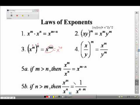 Algebra I review- Laws of Exponents - YouTube