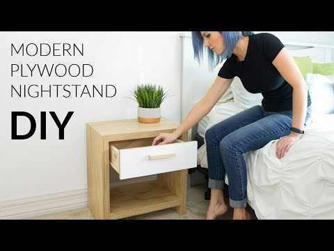 DIY Modern Plywood Nightstand W/ Waterfall Edge