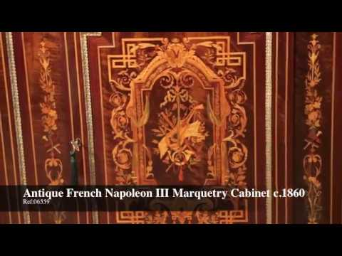 Antique French Napoleon III Marquetry Cabinet c.1860