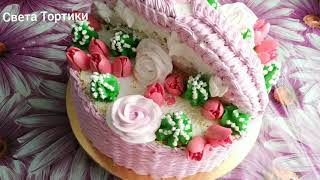 Торт Корзина с цветами Украшение торта БЗКкремом Cake Basket with flowers