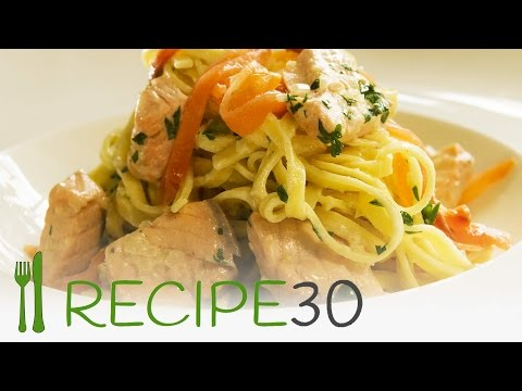 TWO SALMON LINGUINE  Pasta Recipe With Cheese And Cream By Recipe30.com