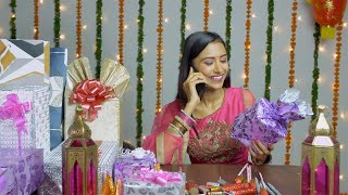 "Pretty Indian female wishing her friends ""Happy Diwali"" over a phone call - festival background"