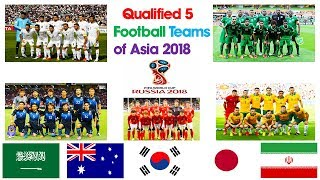 Qualified 5 Football Teams of Asia 2018   Fifa World Cup 2018   Qualified Teams  2018