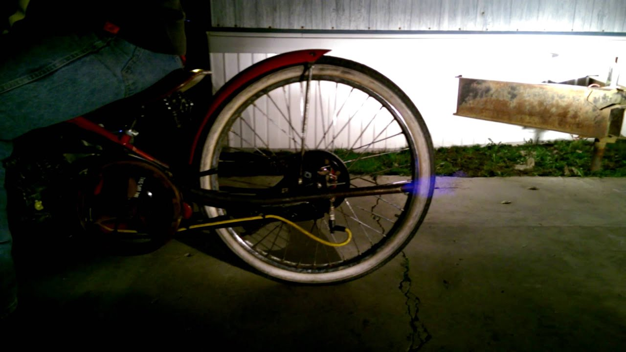 Homemade motorized bike, dyno roadster flamethrowe