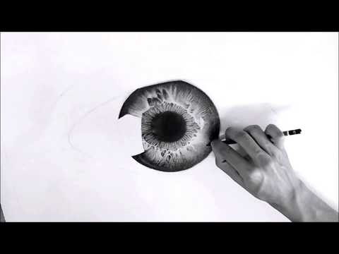Pencil drawing timelapse: Eye drawing 'MONOCHROME' – Hyperrealistic art