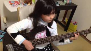 Audrey (9 years old) Plays Bass- Jessica - The Allman Brothers Band...