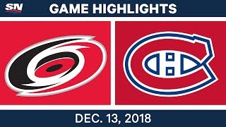 NHL Highlights | Hurricanes vs. Canadiens - Dec 13, 2018
