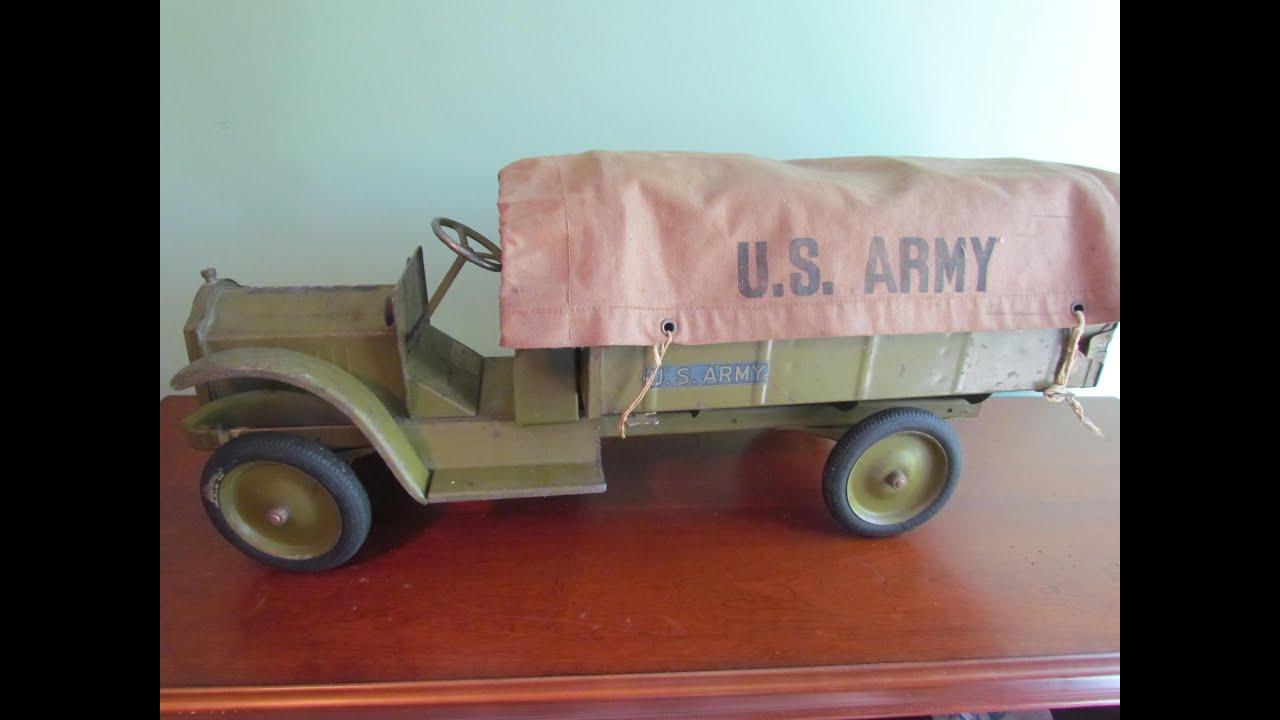 Vintage Toy Trucks Part - 18: Vintage 1927 KEYSTONE PACKARD US ARMY Toy Pressed Steel Metal Truck Canopy  #48 Video Bergen Pickers - YouTube