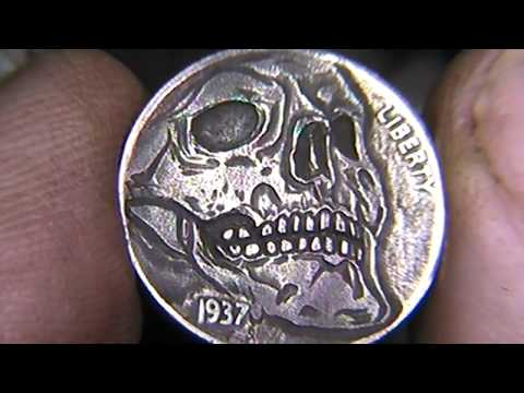 'Transition' Carved Skull Full Horn Hobo Nickel Shaun Hughes