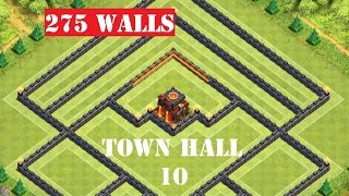 CLASH OF CLANS Town Hall 10 Trophy Base/War Base - 275 walls and 2 Air Sweepers