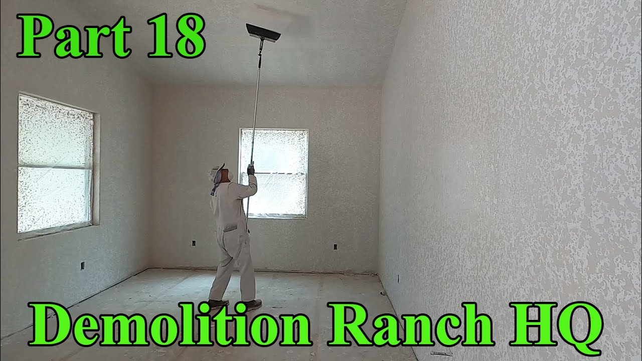 Drywall,  tape and float, and texture | Demolition Ranch HQ Build Part 18