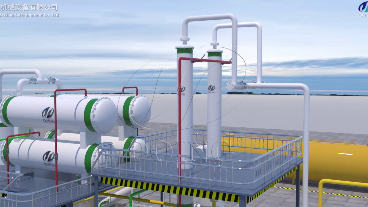 Latest design fully continuous waste plastic and tyre recycling to fuel oil  plant 3D video