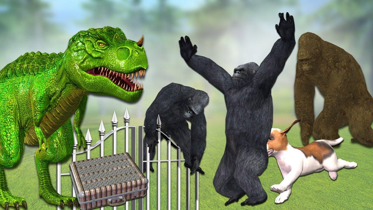 Gorilla vs dinosaur and dog comedy short video ## Cartoon Gorilla funny video by Mr Lavangam