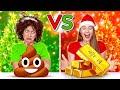 NAUGHTY VS NICE CHRISTMAS PRESENTS CHALLENGE || Cheap VS Expensive Presents By 123 GO! CHALLENGE